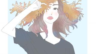 麦わら帽子の女性のイラスト
