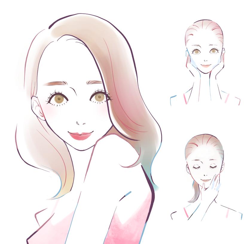女性のスキンケアのイラストアイキャッチ